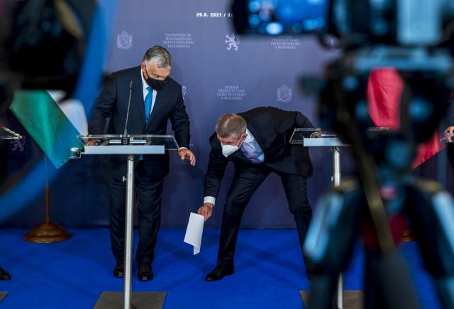 Tisková konference Andreje Babiše a Viktora Orbána v Ústí nad Labem (29. 9. 2021) (ČTK/Hájek Ondřej)
